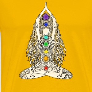 yoga woman 7 chakras lotusbuddha meditation Namast - Men's Premium T-Shirt