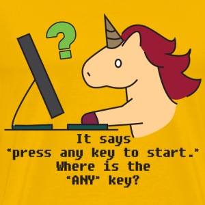 Unicorn: Unicorn searchs the ANY key - Men's Premium T-Shirt