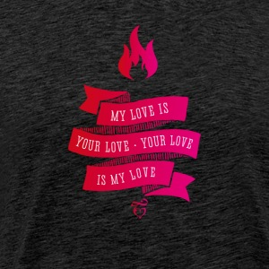 My Love Is Your Love lint liefde roze vintage flam - Mannen Premium T-shirt