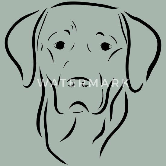 Labrador Chien Tête Dessin Chien Chien Amour Art T Shirt Premium Homme Vert De Gris