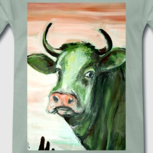 green cow portrait acrylic painting expressionistic - Men's Premium T-Shirt