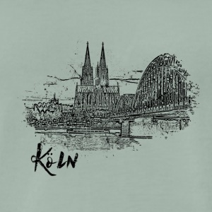 Cologne, city view as a sketch - Men's Premium T-Shirt
