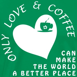 Love & coffee for world peace - Men's Premium T-Shirt