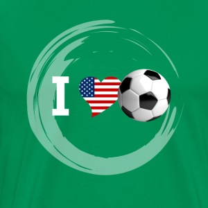 Football Fan jeu Amérique Etats-Unis Heart Love soccer bal - T-shirt Premium Homme