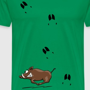 running wild boar with tracks wildsau gift - Men's Premium T-Shirt