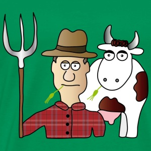 Peasant & Cow | Farmer | Cows Milking | pitchfork - Men's Premium T-Shirt