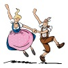 Lederhosen Dirndl Dancing Couple - Frauen Premium T-Shirt