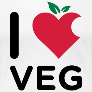 I Love Veg logo made from a mix of heart and fruit - Women's Premium T-Shirt