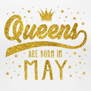 Gold Glitter Queens Are Born In May - Women's Premium T-Shirt