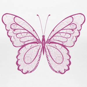 Butterfly in pink, hand drawn - Women's Premium T-Shirt