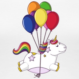 Flying rainbow cartoon unicorn balloons - Women's Premium T-Shirt