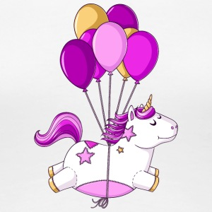 Flying comic unicorn balloons - Women's Premium T-Shirt