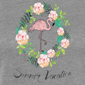 Flamingo - Summer Vacation - Blumenkranz - Frauen Premium T-Shirt