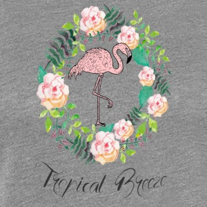 Flamingo - Tropical Breeze - Blumenkranz - Women's Premium T-Shirt