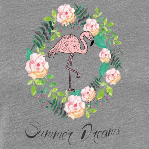 Flamingo - Summer Dreams - Blumenkranz - Women's Premium T-Shirt