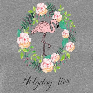 Flamingo - Holiday Time - Blumenkranz - Women's Premium T-Shirt