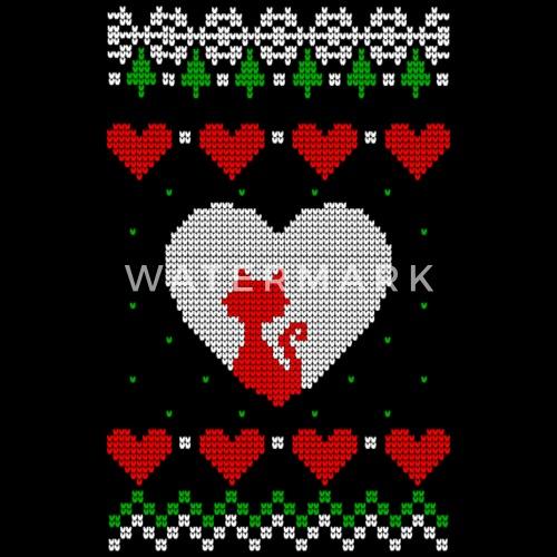 Strick Katze Ugly Christmas Sweater Strickmuster von Geschenke ...