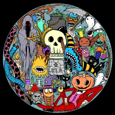 Halloween collage colored