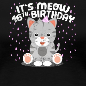 Sweet cat birthday kitten party 16 years - Women's Premium T-Shirt