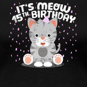 Sweet cat birthday kitten party 15 years - Women's Premium T-Shirt