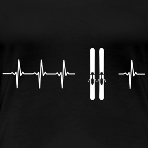 I love skiing (ski heartbeat) - Women's Premium T-Shirt