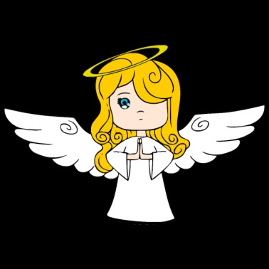 Engel Abstrakt Handgezeichnet Frauen T Shirt Schwarz