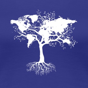 Tree with world map - Women's Premium T-Shirt