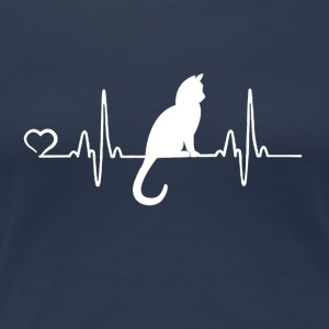 Cat - heartbeat - Women's Premium T-Shirt