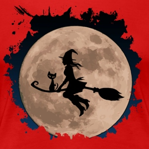 "Witch with sweet cat ""CatRina"" on broom with moon - Women's Premium T-Shirt"