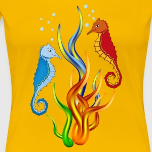 Sea horse with seaweed - Women's Premium T-Shirt