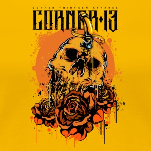 ORANGE SKULL & ROSES - Premium T-skjorte for kvinner