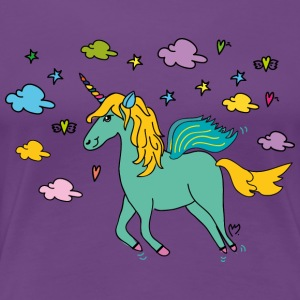 Flying Unicorn with Clouds - Women's Premium T-Shirt