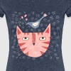 Cat Bird Flower - Women's Premium T-Shirt