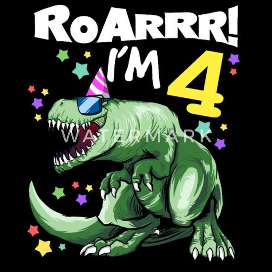 Verbazingwekkend ROAR Ik ben 4 jaar oud - T REX Verjaardag DINO Kinderen premium T BF-72