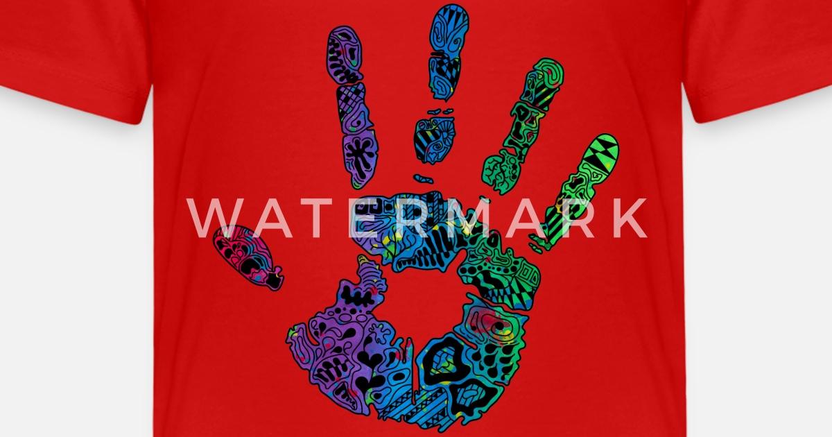 Hand Handabdruck Bunt Farbe Ornamente Geschenk Kinder Premium T