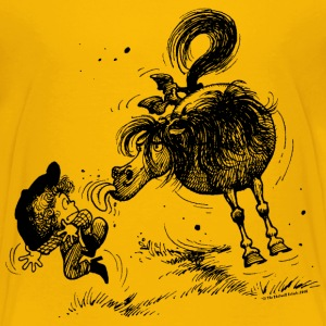 Thelwell 'Pony sticks out his tounge.