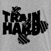 train hard quote bodybuilding dumbbell - Teenage Premium T-Shirt