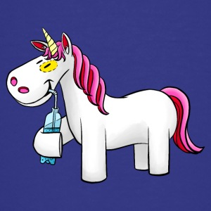 Unicorn med vandflaske - Teenager premium T-shirt