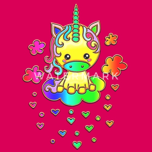 67c406de4abf6 Cute Rainbow Unicorn, Cloud, Kawaii, Manga, Anime Teenage Premium T ...