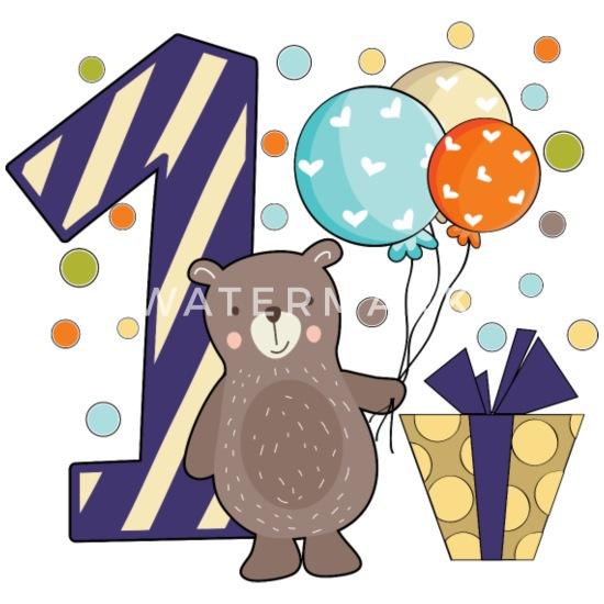 Erster Geburtstag 1 Ein Jahr Junge Geschenk Teddy Baby Langarmshirt Weiß