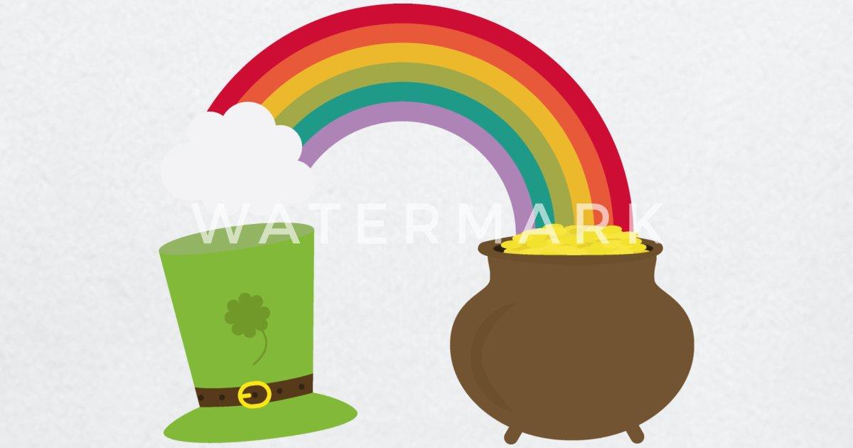Arco iris oro y sombrero de duende Camiseta de manga larga bebé ... 336f27bd72c