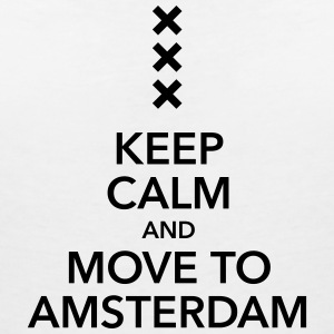 keep calm move to Amsterdam Holland Kreuz Cross - Frauen T-Shirt mit V-Ausschnitt