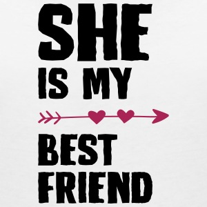 She is my best friend Left - Women's Organic V-Neck T-Shirt by Stanley & Stella