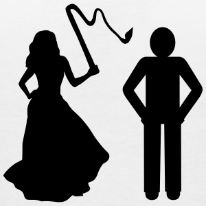 Marriage, Bride with whip & Groom