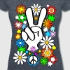 Flower Power & Peace (big) - Women's Organic V-Neck T-Shirt by Stanley & Stella
