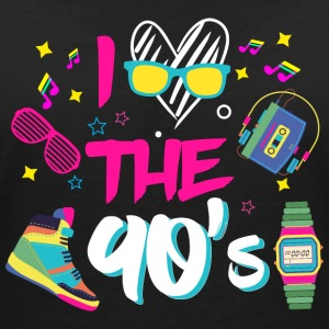 I Love the 90s / halvfemserne / fancy kjole part / Retro / Party - Dame-T-shirt med V-udskæring