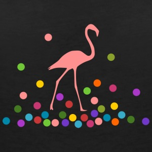 Flamingo with colorful balls - Women's Organic V-Neck T-Shirt by Stanley & Stella