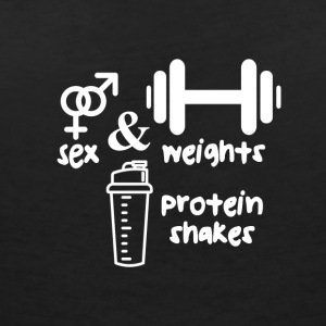 Rhyme: sex, weights and protein shakes - training - Women's Organic V-Neck T-Shirt by Stanley & Stella