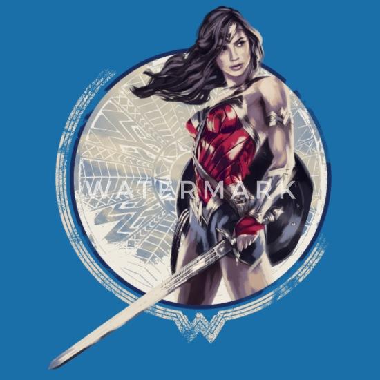Warner Bros Wonder Woman Guerrière Dessin T Shirt Bio Col V