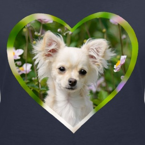 Chihuahua sweet puppy portrait with heart - Women's V-Neck T-Shirt